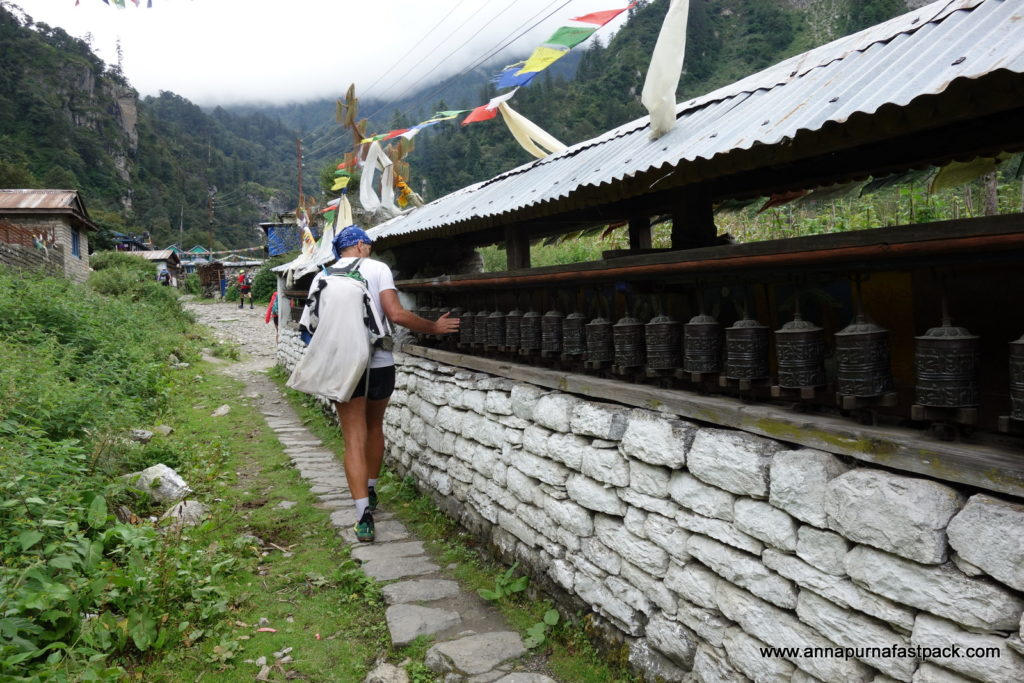 The further north we got, the more Tibetan the villages were - this is entering Chame